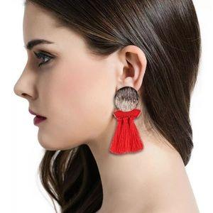 Red Tassel Boho Gold Medal Earrings